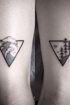tatouage voyage couple- mer et montagne