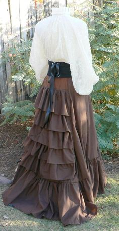 ed06a7f1358 Victorian Bustle Skirt Ruffles Cotton Sweeney Todd Style