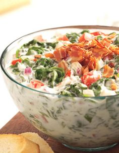 Spinach-Ranch Dip with Crumbled Bacon