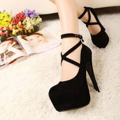 Closed Toe High Stiletto Black Ankle Strap Pumps Shoes Sexy New Fashion 2015 #Unbranded #Strappy