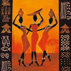 African American Art - Three Gatherers wall art by Izabella Dahlke available at Great BIG Canvas. Arte Tribal, Tribal Art, African American Artwork, African Artwork, Wal Art, African Quilts, African Art Paintings, Abstract Paintings, Contemporary Paintings