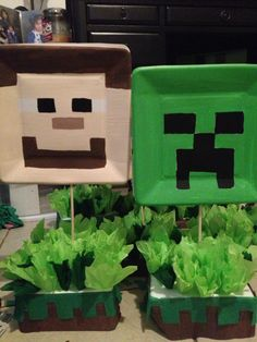 Minecraft centerpieces that I made with paint, styrofoam , streamers, and tissue paper #minecraftparty#centerpiece#homemade