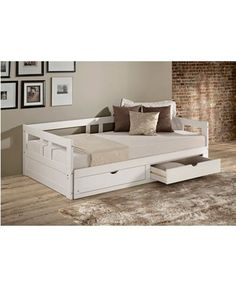 Shop Melody Expandable Twin to King Trundle Daybed with Storage Drawers - On Sale - Overstock - 18105338 - White Twin Daybed With Trundle, Daybed With Storage, Bed Frame With Storage, Under Bed Storage, Daybed With Drawers, Trundle Beds, Safe Bunk Beds, Stylish Beds, Stylish Bedroom