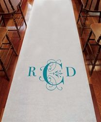 7b3747d96f Deco Monogram Wedding Aisle Runner Dress up your walk down the aisle with  our classic deco monogram Runner. Personalized white aisle runner with  classic ...
