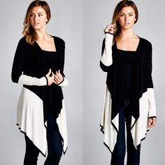 "X ""Nightingale"" Colorblock Cardigan / Jacket Colorblock cardigan. Available in black/white or black/taupe. This listing is for the BLACK/WHITE. True to size. Brand new with tags. 100% Viscose. Bare Anthology Jackets & Coats"