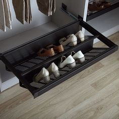 Closets KAMO Sliding Shoe Rack - 412680060 Quench the thirst for knowledge Education according to th Closet Shoe Storage, Bedroom Cupboard Designs, Bedroom Closet Design, Shoe Drawer, Wardrobe Shoe Rack, Shoe Rack Closet, Cupboard Design, Dressing Room Design, Rack Design