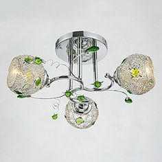 3 Lights, Flush Mount,Characteristic Iron Glass Plating – LightSuperDeal.com