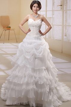 White Ball Gown Spaghetti Strap Bridal Dresses ted0392 - SILHOUETTE: Ball Gown; FABRIC: Organza; EMBELLISHMENTS: Applique , Draped , Ruffles , Sequin; LENGTH: Cathedral Train - Price: 167.1200 - Link: http://www.theeveningdresses.com/white-ball-gown-spaghetti-strap-bridal-dresses-ted0392.html
