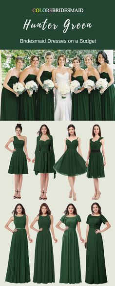 These hunter green color short and long bridesmaid dresses are made of high quality chiffon fabric and can be custom made to all sizes. They are the most popular sweetheart,bateau,scoop and jewel neckline styles.They are most sold under 100. Where to buy such cheap bridesmaid dresses except colorsbridesmaid.com?