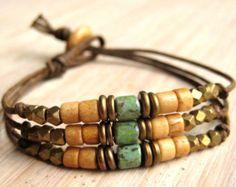Triple Strand Bracelet Layered Bracelet by BareBoneBracelets