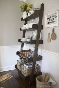 Early Fall – Rustic and Woven – Ladder Shelf - Regal Selber Bauen Living Room Shelves, Living Room Decor, Dining Room Buffet, Dining Rooms, Kitchen Tables, Dining Area, Dining Table, Home Coffee Stations, Elegant Living Room