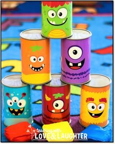 Teaching With Love and Laughter: Halloween Party Ideas From Oriental Trading Dulceros Halloween, Halloween Class Party, Halloween Activities, Holidays Halloween, Monster Party, Monster Birthday Parties, Tin Can Crafts, School Parties, Oriental Trading