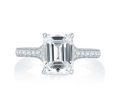 A.JAFFE Modern Meets Vintage Micro Pave Emerald Diamond Center Quilted Engagement Ring. Style MES751Q.