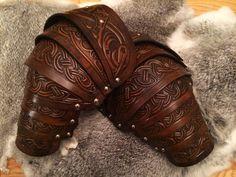Vendel larp leather shoulder armour complete by BlackRavenArmoury
