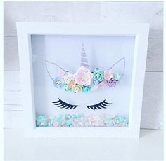 Beautiful 3D paper flower crown unicorn frame With floating embellishments Gifts for girls Unicorn gifts Bedroom decor Girls bedroom decor Unicorn box frame Flowers Paper flowers Floating embellishments along the bottom Home accessories Unicorn ***notice*** Colours can appear
