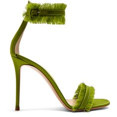 Gianvito Rossi Portofino fringe-trimmed sandals (€805) ❤ liked on Polyvore featuring shoes, sandals, heels, green, heeled sandals, ankle strap heel sandals, stiletto heel sandals, green heeled sandals and green leather sandals