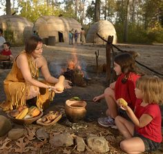 Explore the Powhatan way of life in a re-created village featuring reed-covered houses, crops and a ceremonial circle of carved wooden posts. Description from historyisfun.org. I searched for this on bing.com/images