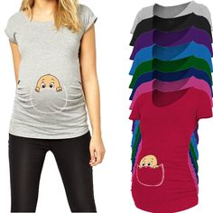 """Plus Size New Design Funny and Cute """"baby peeking out"""" Short sleeve Casual Maternity Shirt Pregnancy Clothes for Pregnant Women Pregnancy Outfits, Pregnancy Shirts, Baby Shirts, Pregnancy Clothes, Pregnancy Tips, Blouses For Women, T Shirts For Women, Fashion Hashtags, Color Style"""