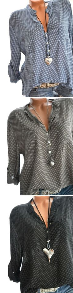 UP TO 48% OFF! Casual Polka Dot Print Loose Long Sleeve Blouses For Women -- Newchic. SHOP NOW!