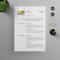 Clean, modern and professional design of resumes and letterheads . - D E S I G N / graphics + communications - Resume/CV Template. Clean, Modern and Professional Resume and Letterhead design…. Graphic Design Resume, Resume Design Template, Resume Templates, Graphic Designer Cv, Modern Cv Template, Letterhead Template, Design Templates, Resume Layout, Resume Cv