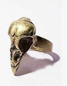 Ring-Raben-Schaedel-Raven-Golden-Skull-Steampunk-Skeleton-Gothic-Dead-Crow-Rave