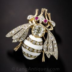 Vintage Enamel Bee Brooch with 1.20 ct. Old Mine-Cut Diamond - Lang Antique & Estate Jewelry