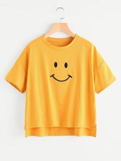 Shop Dip Hem Smile Print Tee online. SheIn offers Dip Hem Smile Print Tee & more to fit your fashionable needs.