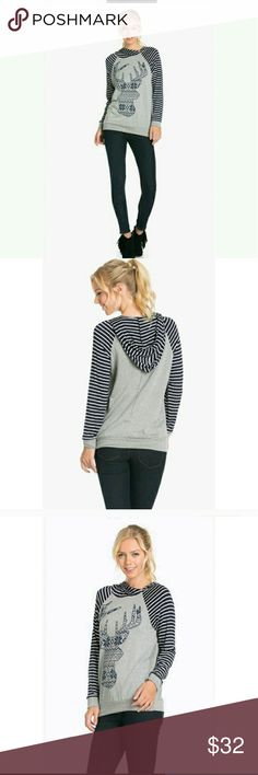 Top / Hoodie/ sweatshirt/ Pullover Navy and gray striped Deer head design , this lighter weight top  is adorable paired with skinnies  or sweats for comfy casual days or evening lounging! Tops Sweatshirts & Hoodies