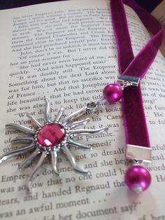 Hot Pink Velvet Ribbon Bookmark with Silver Pendant by StephsStacks