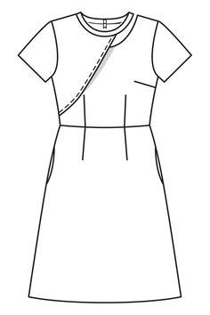 Платье с юбкой а-силуэта - выкройка № 105 В из журнала 7/2016 Burda – выкройки платьев на Burdastyle.ru