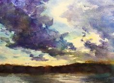 Sunset Clouds Watercolor Painting tutorial