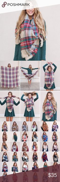 Large Tan Red Green Colorful Blanket Scarf We are LOVING blanket scarves for this year! We carry 60 different colors, but frequently sell out of most! We will continue to get large shipments in every 2-3 weeks of the scarves through Christmas! Interested in wholesale for these? Let me know! We offer wholesale prices to boutique owners. :) Paperback Boutique Accessories Scarves & Wraps