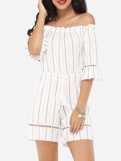 34da814deaa Embossed Design Dacron Striped Rompers Street Style Edgy