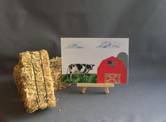 Farm card-handmade recycle fabric greeting by Lovepaperscissors14