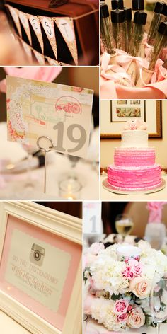 Super cute weddings, pinks, cake, table numbers, centerpieces