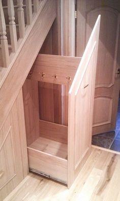 Under stair coat storage Understairs Storage coat Stair storage Staircase Storage, Stair Storage, Hidden Storage, Hallway Storage, Understairs Storage Ideas, Under Steps Storage, Shoe Storage Under Stairs, Understairs Toilet, Under Stairs Cupboard