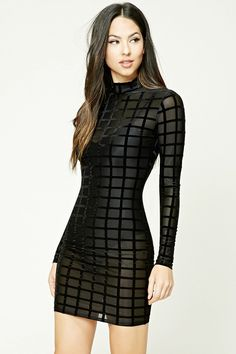 A sheer mesh knit mini dress featuring a velvet square pattern, bodycon silhouette, mock neck, long sleeves, and an invisible back zipper.