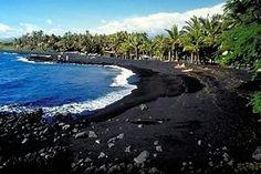 Black sand beach in Hawaii, volcanic sand