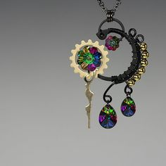 Kronos v8: Beautiful and unique steampunk pendant with bold electra Swarovski crystals... it's like wearing a rainbow!