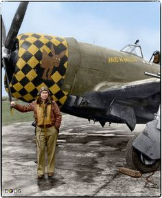 """USAAF Capt. Dewey E. Newhart """"Mud N' Mules"""" Republic P-47D-15-RE Thunderbolt LH-D s/n 42-76141 350th Fighter Squadron, 353rd Fighter Group, 8th Air Force http://www.colourisehistory.com/"""