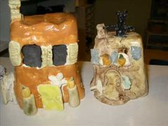 Clay Haunted Houses - she has made many clay tutorial videos for kiddos