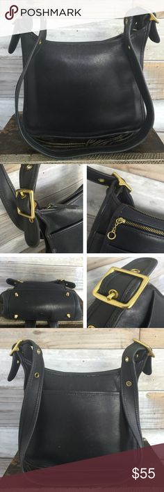VINTAGE Coach Navy Large Leather Crossbody Such a beautiful & classic vintage piece...I love the rich navy blue color because it's a little less common in these bags--& definitely harder to find. Leather is in excellent vintage condition & interior is pristine. Brushed Gold hardware all in tact, functional, & unmarred by scratches. Zippers working. Interior authenticity stamp & date code shown in photo 4. Very light wear from common use, but no visible damage. Beautiful bag, durable & strong…