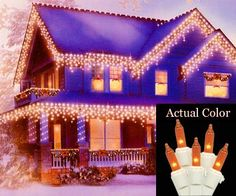 "Set of 100 Amber Icicle Christmas Lights - White Wire by Vickerman. Save 35 Off!. $12.99. Set of 100 Icicle Christmas LightsItem #W6W4330Features:Color: amber bulbs / white wireNumber of bulbs on string: 100Bulb size: miniSpacing between each drop: 6 inchesDrop lengths alternate between 12""L, 16""L, 22""L and 26""LSpacing between lights on drops: 4 inchesApproximate lighted string length: 8 feetApproximate total string length: 9.4 feetAdditional Product Features:Commercial Grade LightsIf ..."
