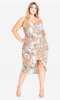 fbb984c037d Shop Women s Plus Size Paper Floral Faux Wrap Dress