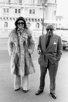 Circa 1970.  Jackie with husband Aristotle in Saint Germain en Laye, France.