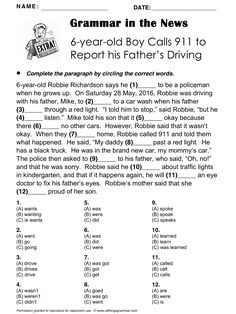 English Grammar in the News 'Boy Calls 911', Past simple, http://www.allthingsgrammar.com/boy-calls-911.html