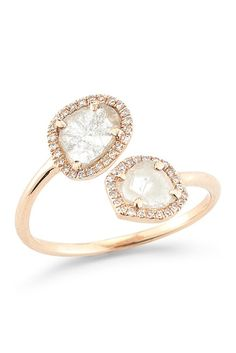 Image of Lily & Isabella 14K Rose Gold Open Diamond Slice Ring - 0.45 ctw - Size 7