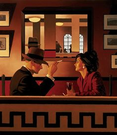 Jack Vettriano, OBE is a Scottish painter. His 1992 painting, The Singing Butler, became a best-selling image in Britain. For biographical notes -in english and italian- and other works by Vettriano see: Jack Vettriano, 1951 Jack Vettriano, The Singing Butler, Mirror Artwork, Mirror Painting, Painting Art, Mirrors, Chef D Oeuvre, Impressionist Paintings, Pulp Art