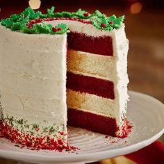 Red Velvet & White Chocolate Layer Cake With White Chocolate Ganache Frosting