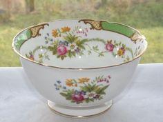 Shelley Fine Bone China England Dubarry Pattern Green Sugar Bowl c1950s